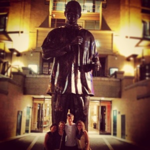 After dinner under a statue of Nelson Mandela