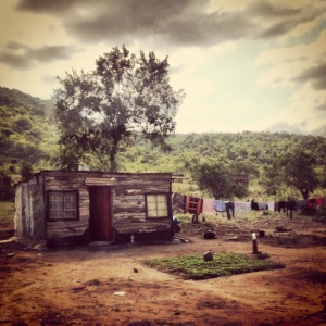 A typical shack in a remote township on the road to Bongani